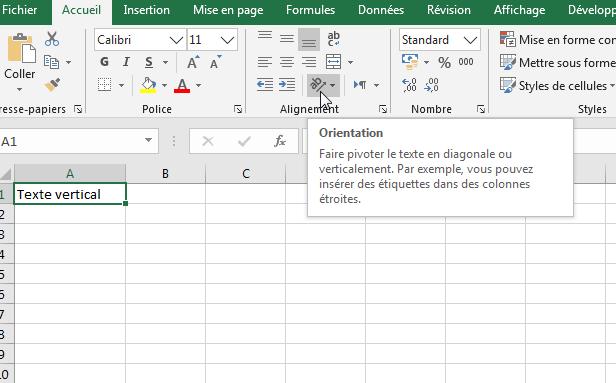 écrire verticalement - modifier l'orientation du texte