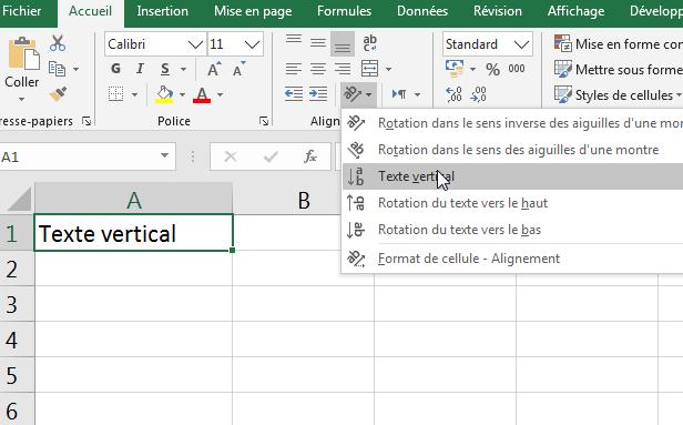 """écrire verticalement - sélectionnez l'option """"Texte vertical"""""""