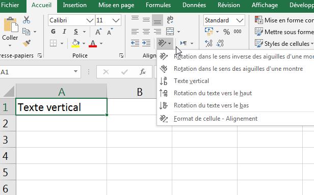 écrire verticalement selon un angle dans une cellule Excel