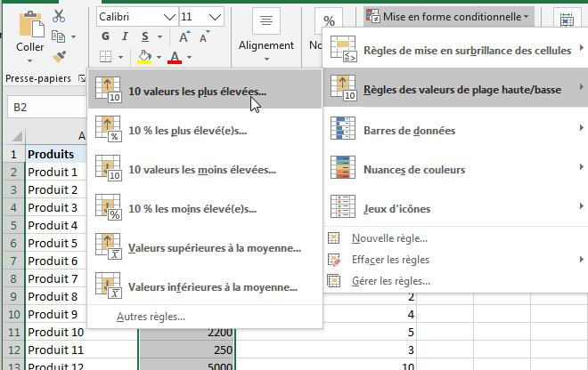 mise en forme conditionnelle dans Excel