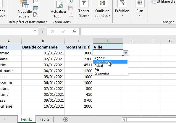 Créer une liste déroulante Excel