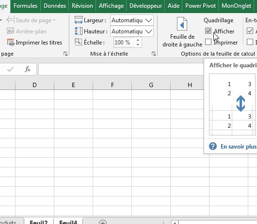 Masquer le quadrillage Excel