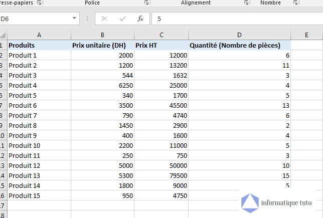 Déplacer une colonne Excel