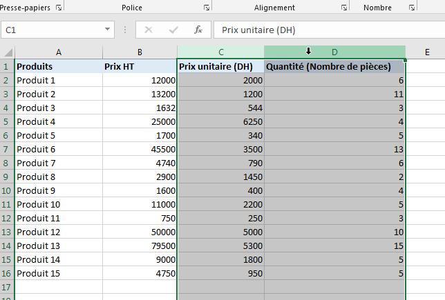 Déplacer une colonne Excel avec la touche Shift