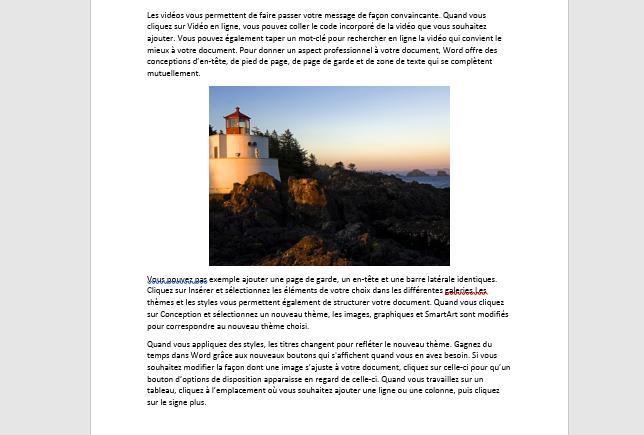 conversion d'une seule page d'un document Word en JPEG