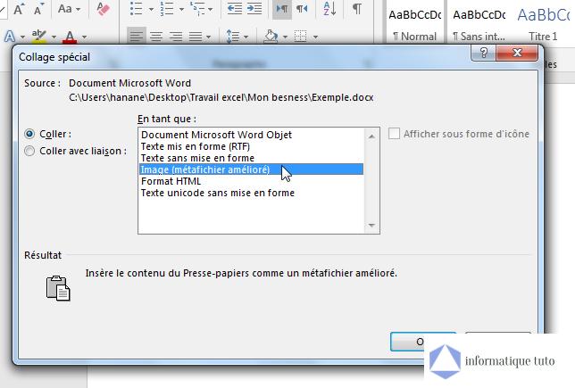 """Convertir Word en JPEG - Sélectionnez """"Image (métafichier amélioré)"""""""