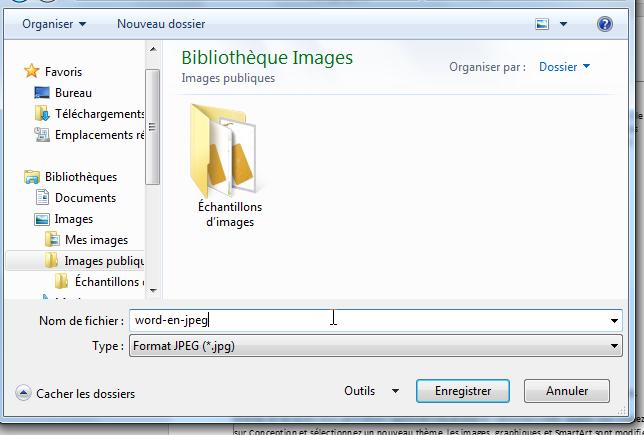 Convertir Word en JPEG - enregistrer l'image