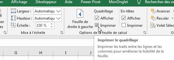 Imprimer le quadrillage Excel