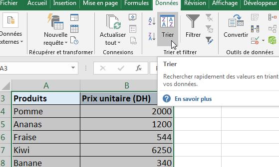 """Trier par ordre alphabétique Excel - cliquez sur la commande """"Trier"""""""