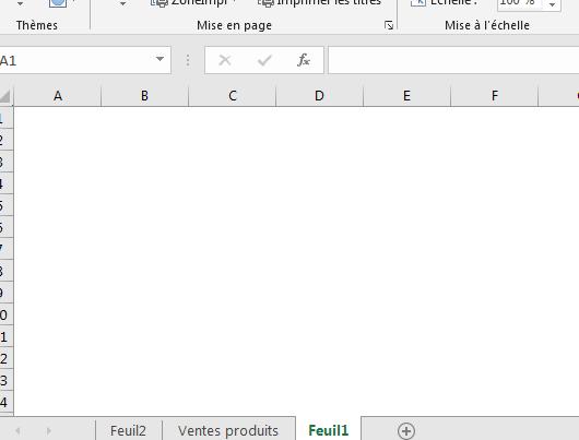 Enlever quadrillage Excel pour une feuille de calcul