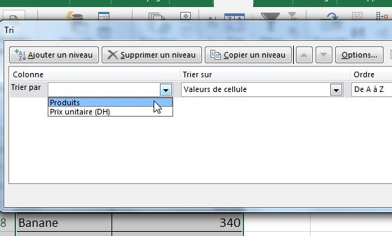 Trier par ordre alphabétique Excel - la boite de dialogue Tri