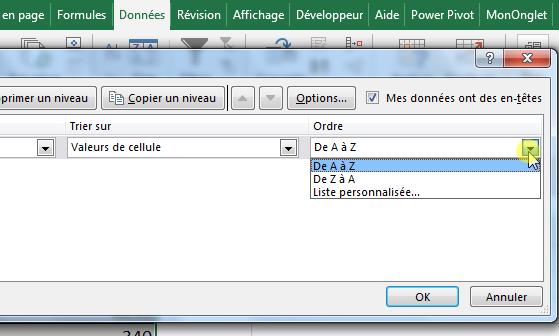 Trier par ordre alphabétique Excel de A à Z