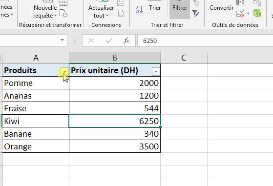 Flèche de filtre Excel