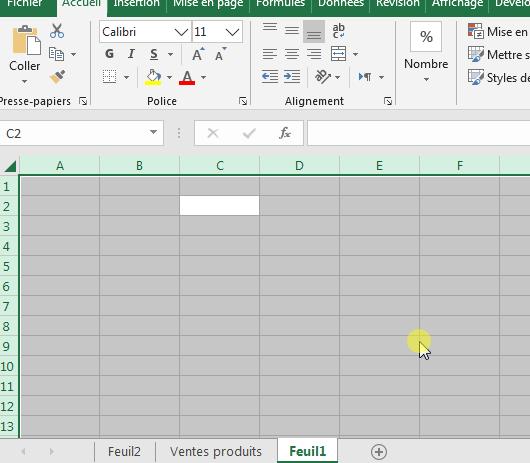 Enlever quadrillage Excel en modifiant la couleur de remplissage