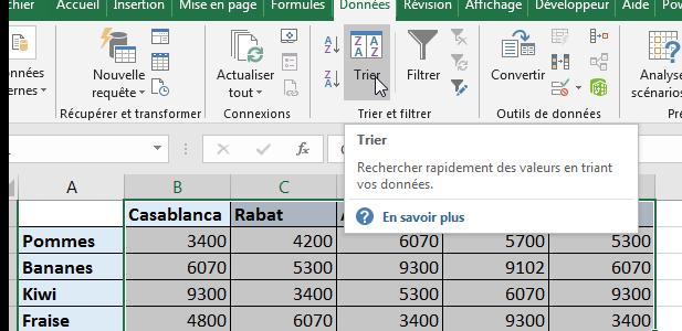 Trier par ordre alphabétique Excel