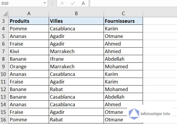 Trier plusieurs colonnes par ordre alphabétique Excel