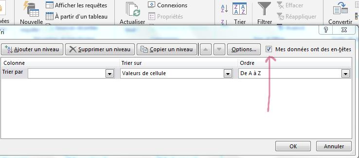 Boite de dialogue tri Excel