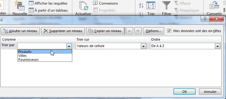 Boite de dialogue pour trier alphabétiquement Excel