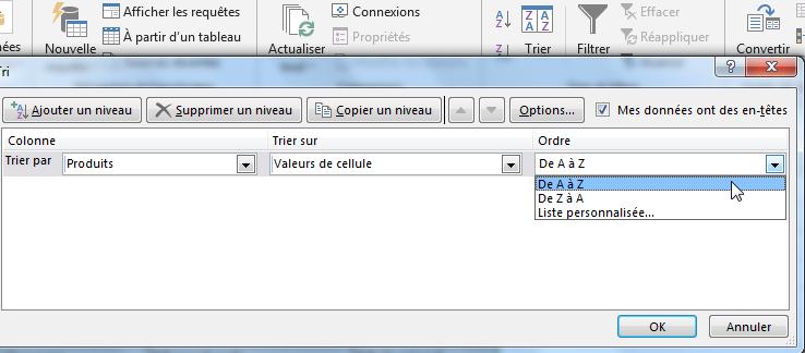 Choisir l'ordre de tri alphabétique Excel