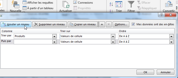 Ajouter un niveau de tri alphabétique Excel