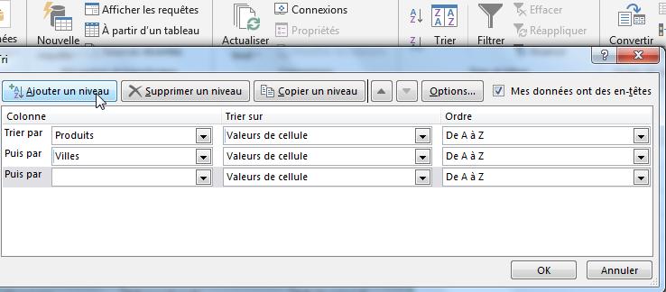 Définir le troisième niveau de tri alphabétique Excel
