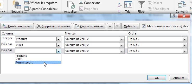 Plusieurs niveaux de trier par ordre alphabétique Excel