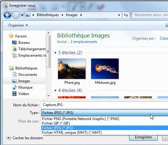 Choisir le type d'image pour convertir Excel