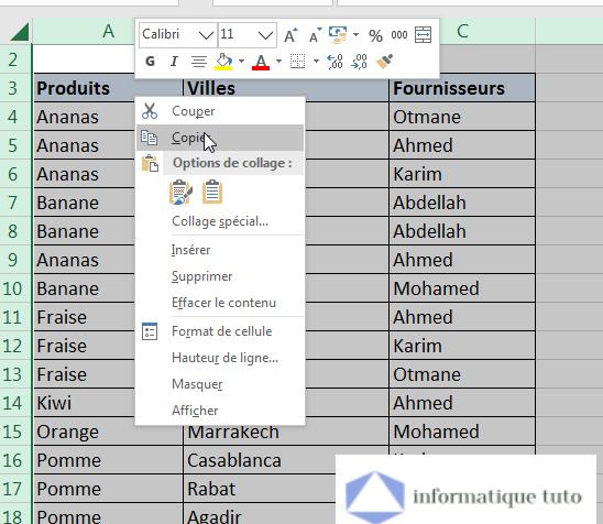 Copier les données Excel à convertir en JPG