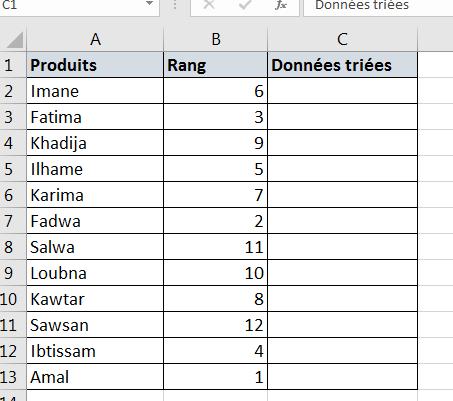 Colonne d'assistance pour trier alphabétiquement Excel