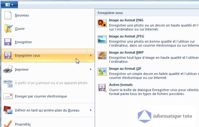Convertir un fichier Excel en image JPG - Sélectionner le format d'image