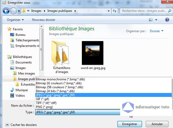 Enregistrer Excel sous format image JPG, PNG ou GIF