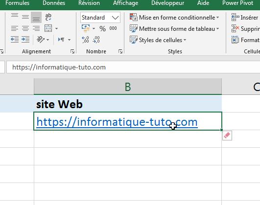 effacer lien hyertexte Excel