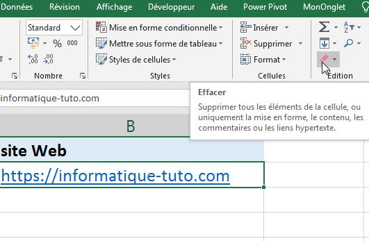 effacer lien hypertexte Excel