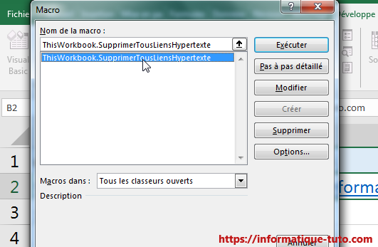Enlever lien hypertexte Excel avec macro