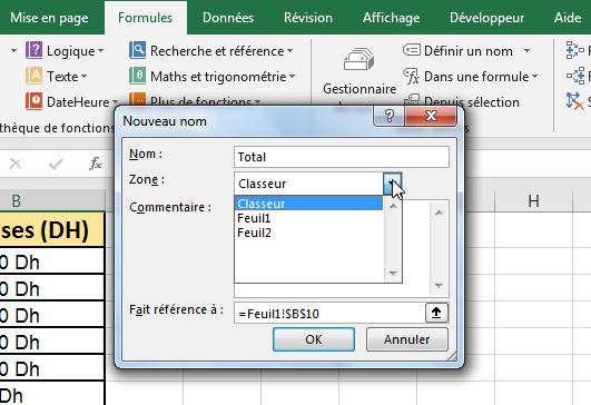 Nommer une plage de cellule Excel