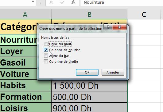 Nommer une cellule Excel depuis une sélection
