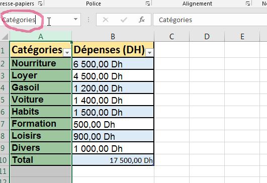Nommer une colonne Excel