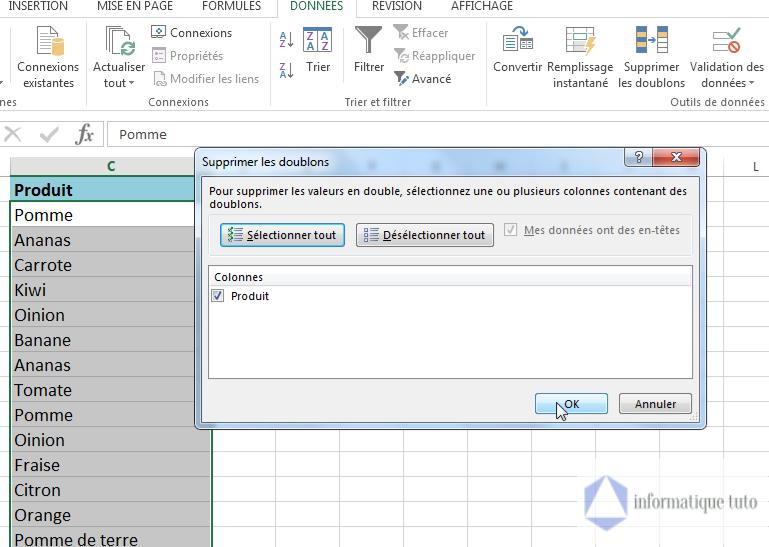 Supprimer les doublons Excel-cliquez sur OK