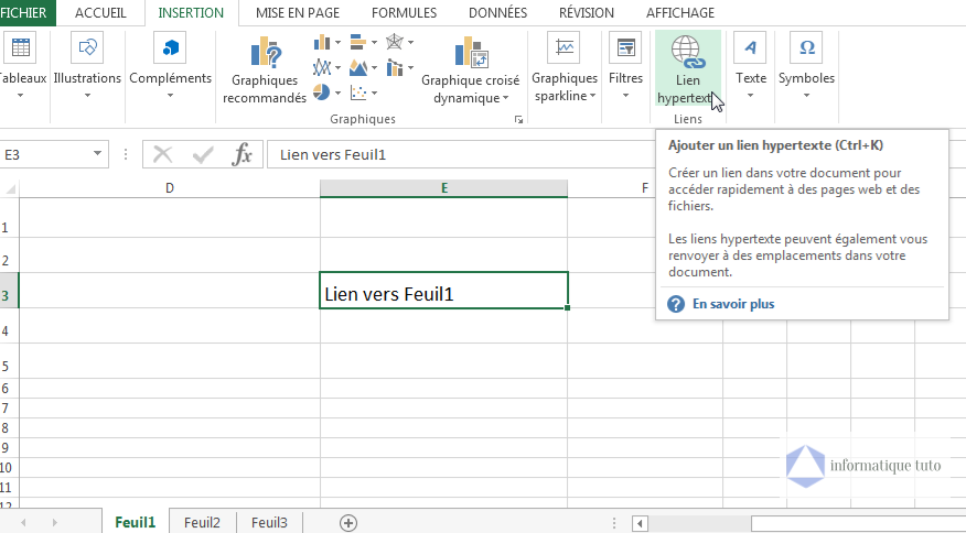 Créer un lien hypertexte Excel vers une feuille de calcul dans le même classeur-étape2