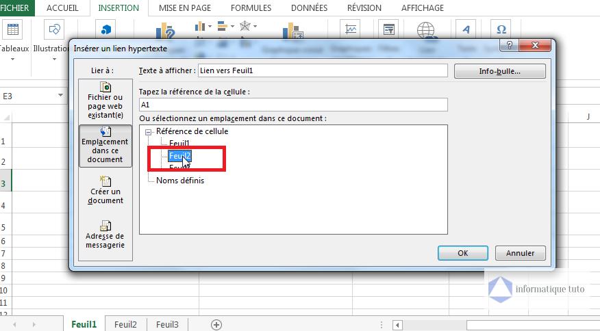 lien hypertexte Excel vers une feuille-Choisir la feuille de calcul