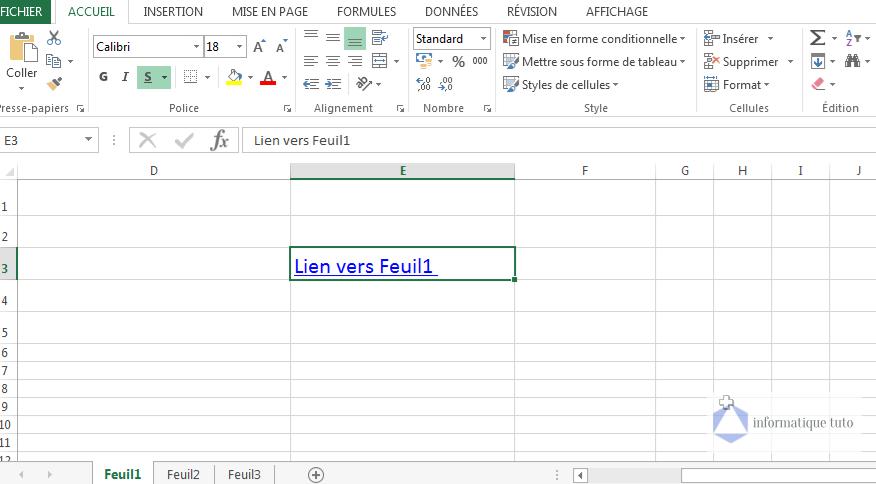 Créer un lien hypertexte Excel vers une feuille de calcul dans le même classeur-résultat