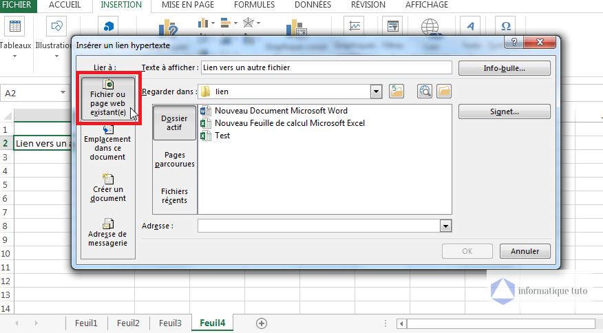 Insérer un lien hypertexte vers un autre fichier