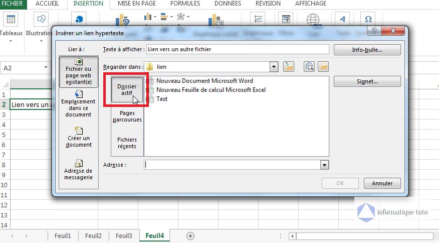 Sélectionnez 'Dossier actif' dans les options Regarder dans