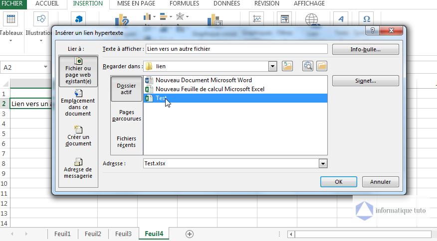 Sélectionner le fichier pour lequel on veut créer un lien hypertexte Excel