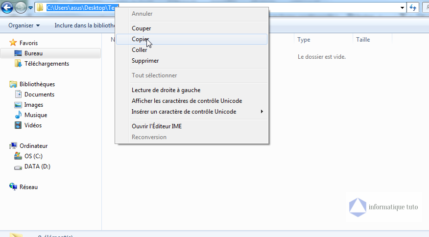 Copier l'adresse du dossier pour lequel on veut créer un hyperlien Excel