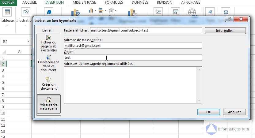 Créer un lien hypertexte excel vers une adresse e-mail