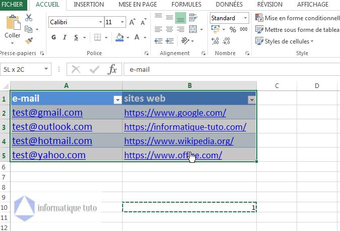 sélectionner les colonnes contenant les liens hypertexte