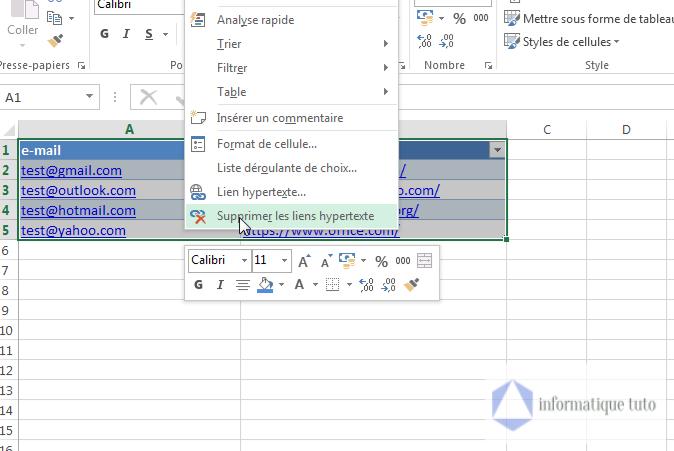 choisir Supprimer les liens hypertexte dans le menu contextuel