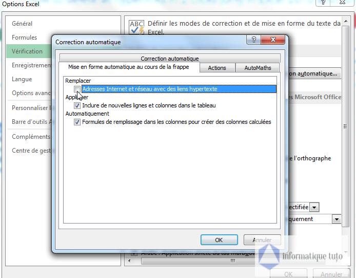 Désactiver la création automatique des liens hypertexte Excel