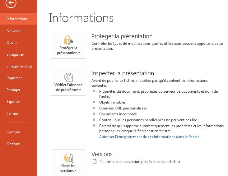 Tutoriel PowerPoint- Menu Fichier